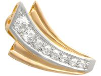 4.06ct Diamond and 18ct Yellow Gold Earrings - Art Deco - Vintage French c.1940 (7 of 9)