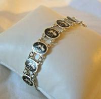 "Vintage Sterling Silver Enamel Bracelet 1960s Goddess of Love 7"" Length 9.1 Grams (4 of 12)"