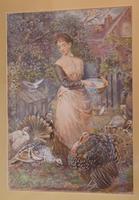 Superb Watercolour 'Feeding the Turkeys' by Robert Crozier (3 of 6)