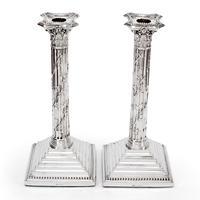 "Pair of Victorian Silver Corinthian Column 12"" Candle Sticks (4 of 5)"