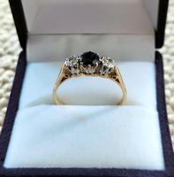 Art Deco 18ct Gold Platinum Sapphire Diamond Trilogy Ring (2 of 11)