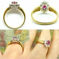 Vintage 18ct gold oval ruby & diamond cluster ring ~ Valentine proposal (3 of 10)