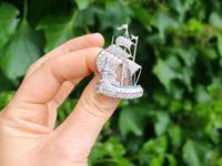 2.65ct Diamond & 0.28ct Emerald, Platinum Ship Brooch - Antique c.1910 (2 of 10)
