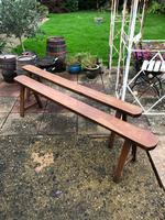 Pair of French Solid Oak Country Rustic Benches (6 of 6)