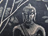 Mary Dudley Short (Molly Freeman), linocut print, Seated Buddha, 4/25, c1935 (2 of 6)