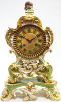 Antique 8 Day Porcelain Mantel Clock Sevres Green Floral French Mantle Clock (3 of 6)