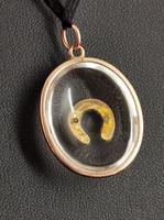 Antique Victorian Rock Crystal Pendant Gold Horseshoe, Split Pearl (14 of 14)