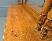 Edwardian Light Oak Carved Mirror-back Sideboard (16 of 17)