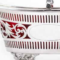 Silver Plated Boat Shaped Silver Basket with Cranberry Glass Liner (5 of 7)
