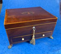 Georgian Mahogany Jewellery Box with Front Drawer (11 of 17)