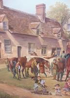 Oil on Board 'a hunting we do go' Artist R M Crompton 1930s (4 of 10)