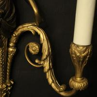 French Pair of Gilded Bronze Twin Arm Antique Wall Sconces (7 of 10)