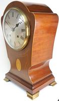 Edwardian Tulip shaped 8-Day Mantel Clock English Mahogany Inlaid Striking Mantle Clock Magnificent Size (4 of 11)
