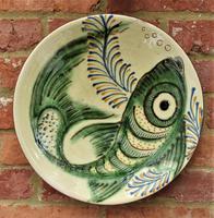 Large Spanish Art Pottery Fish Plate, Puigdemont Catalonia c.1950 (2 of 5)