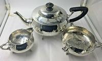 Solid Silver tea set service planished design art nouveau Charles Edwards 1919 (6 of 9)