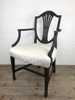 Antique 19th Century Open Arm Carver Armchair with Fabric Seat (M-1196) (8 of 11)