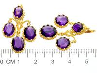 9.15ct Amethyst & 21ct Yellow Gold Chandelier Earrings - Antique c.1895 (7 of 9)