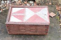 Scandinavian / Swedish 'Folk Art' painted & geometric chip-carved timplåda / sliding-lid box early 19th Century. (3 of 11)