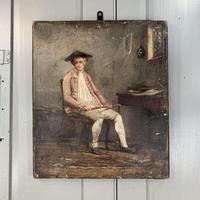 Antique Georgian oil painting portrait of gentleman The Flautist flute player (8 of 10)