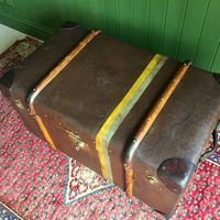 Steamer Trunk 1930s Art Deco Bentwood Travel Chest Coffee Table Storage (5 of 10)