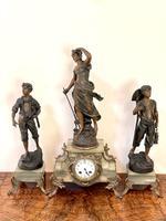 Antique 19th Century French Spelter & Onyx Three Piece Clock Garniture