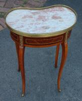 1920s Mahogany Kidney Shaped Side Table with Marble and Drawer (4 of 4)
