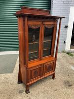 Antique Arts & Crafts Carved Walnut Bookcase