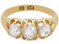 1.05ct Diamond & 18ct Yellow Gold Trilogy Ring - Antique 1866 (4 of 9)