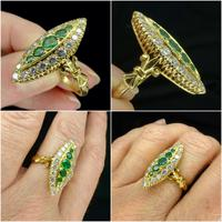 Vintage 18ct Gold Emerald & Diamond Marquise / Navette Cluster Ring c.1920s ~ With Independent Appraisal Valuation (6 of 9)