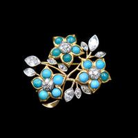 Antique Turquoise and Diamond 18ct 18K Yellow Gold Flower Brooch