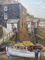 Oil on Canvas Cornish Harbour View Listed Artist Dora Johns 1966 (3 of 10)