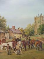 Oil on Board 'a hunting we do go' Artist R M Crompton 1930s (6 of 10)