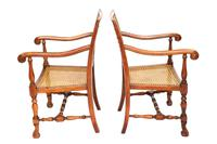 Pair of William & Mary Revival Bergere Elbow Chairs c.1930 (3 of 6)