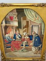 """Large Artwork Gilt Gesso Framed 19th Century Tapestry French Royal Court """"Playing Chess"""" (32 of 44)"""