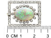 2.23ct Opal & 0.82ct Diamond, 9ct Yellow Gold Brooch - Antique c.1900 (7 of 9)