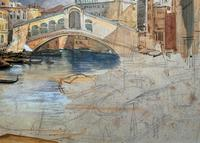 Large Early 1900s Venetian Venice Landscape Watercolour Study Sketch Painting (9 of 14)
