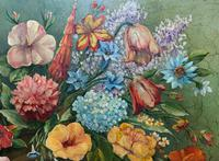 An Extraordinary Original 1952 Vintage French Still Life Of Flowers Oil Painting (4 of 11)