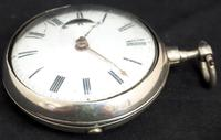 Good Antique Silver Pair Case Pocket Watch Fusee Verge Escapement Key Wind Enamel Dial Robinson London (9 of 11)