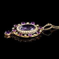 Antique Victorian Amethyst Pearl Pendant Necklace 9ct Gold 12ct Amethyst c.1900 (6 of 8)