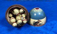 19th Century Skittles Game in Tunbridge Ware White Wood Painted Egg (3 of 21)
