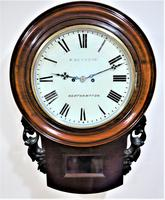 Rare 1865 English Twin Fusee Drop Dial Clock by William Renshaw