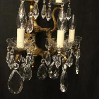 French Pair of Bronze & Crystal 5 Arm Antique Wall Lights (8 of 10)