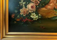 Dutch 18thc Manner RARE Huge Pair Vintage Fruit Floral Still Life Oil Paintings (7 of 23)