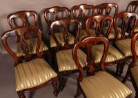 Set of 12 Victorian Spear Point Balloon Back Dining Chairs (3 of 11)