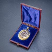 Antique Victorian 18ct Gold Pearl Locket Blue Enamel Cross Circa 1900 Boxed (6 of 6)