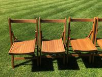 Antique Set of 8 Folding Beech Chairs (5 of 9)