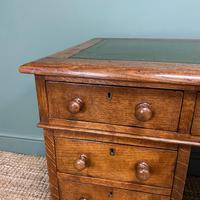 19th Century Victorian Oak Antique Pedestal Desk (3 of 7)
