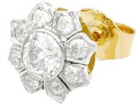 1.81ct Diamond & 18ct Yellow Gold Cluster Earrings - Antique c.1920 (3 of 9)