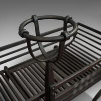 Antique Fire Basket, Pair of Andirons, English, Iron, Fireside, Victorian, 1900 (7 of 12)