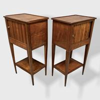 Pair of Fruitwood Side Cabinets with Tambour Slides